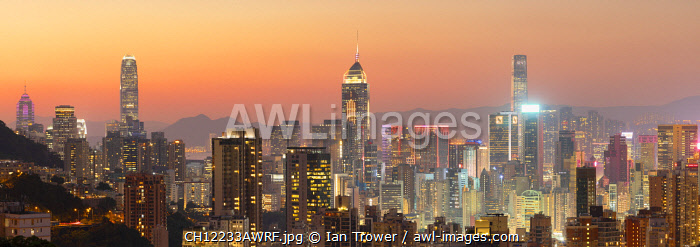 Hong Kong Island skyline at sunset, Hong Kong