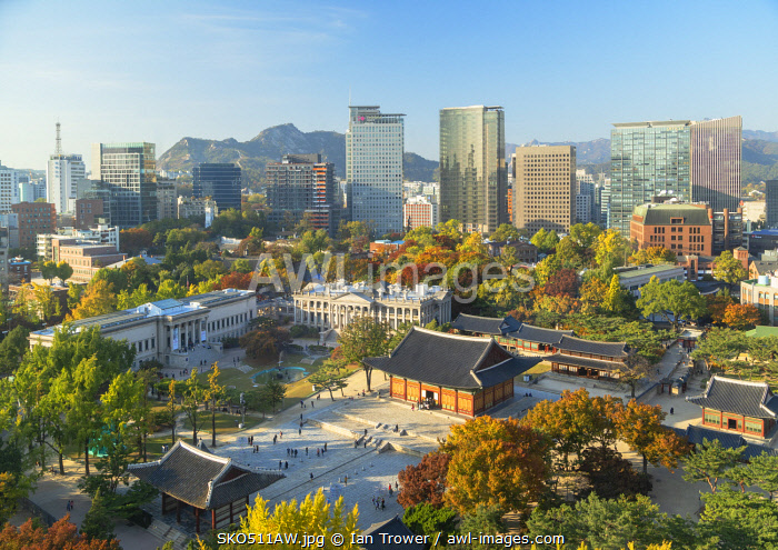 awl-images.com - South Korea / Elevated view of Deoksugung Palace and skyscrapers, Seoul, South Korea