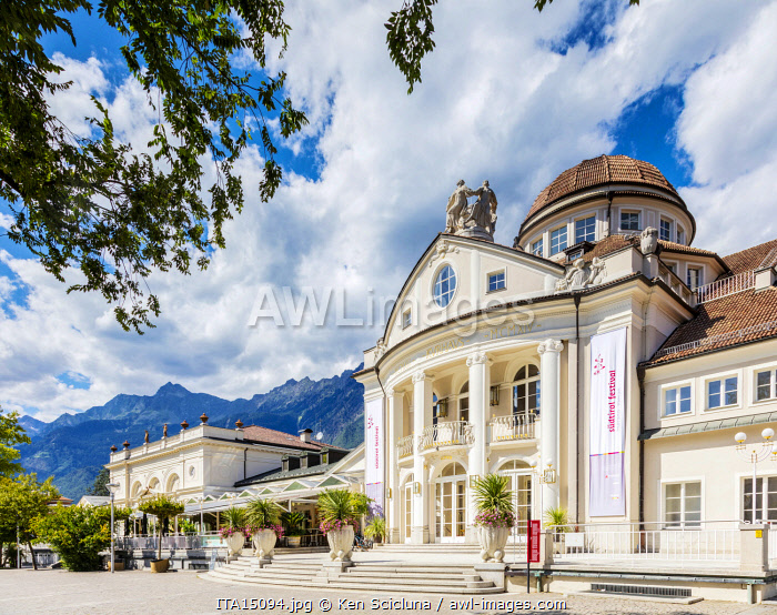 awl-images.com - Italy / Italy. Trentino Alto Adige. South Tyrol. Merano. The Art Nouveau facade of the Kurhaus Concert Hall.