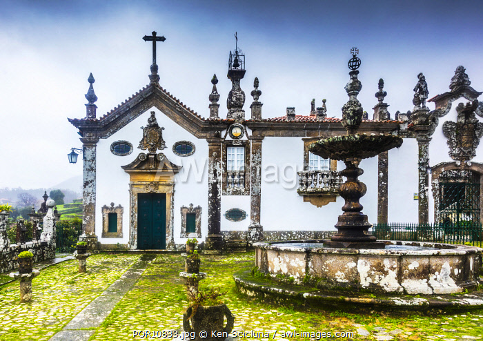 awl-images.com - Portugal / Portugal. Rio Minho. Vila Nova de Cerveira. An impressive castle facade on the Alto Minho region on the alternative route of Rio Minho on the Camino Portuges do Costa towards Santiago de Compostela.