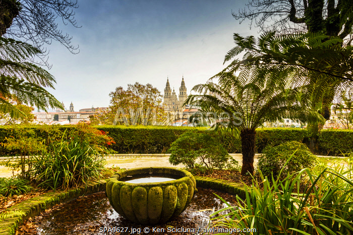 awl-images.com - Spain / Spain. Galicia. Santiago de Compostela. The Cathedral of Santiago from the Gardens.