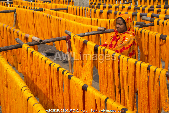 Drying dyed yarn in the traditional weaving village, Tangail district, Dhaka Division, Bangladesh.