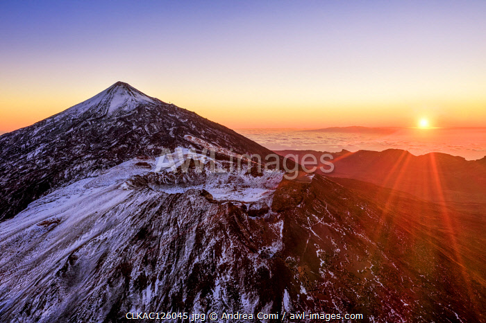 Aerial view of mount Teide and the Pico Viejo at sunrise. Teide National Park, Tenerife Canary Islands, Spain