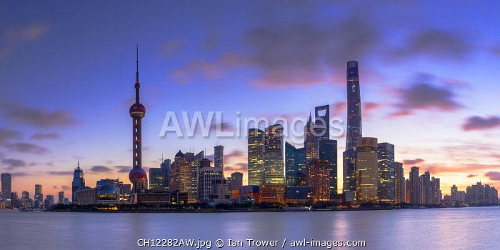 Skyline of Pudong at sunrise, Shanghai, China