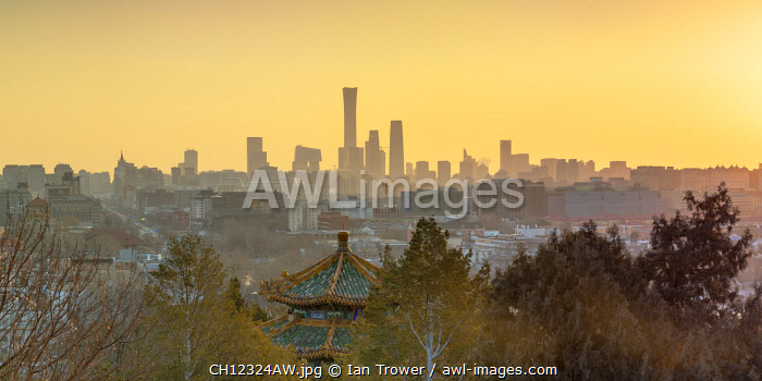 Skyscrapers of Chaoyang business district from Jingshan Park at sunrise, Beijing, China