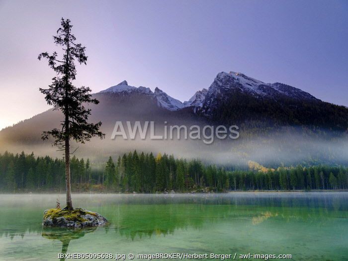 awl-images.com - Germany / Lake Hintersee, in the back the massif of the Hochkalter, Berchtesgaden National Park, Ramsau, Berchtesgadener Land, Upper Bavaria, Bavaria, Germany, Europe