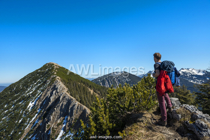awl-images.com - Germany / Hiker on ridge, hiking trail to Brecherspitz, Schliersee, Oberbayern, Bavaria, Germany, Europe