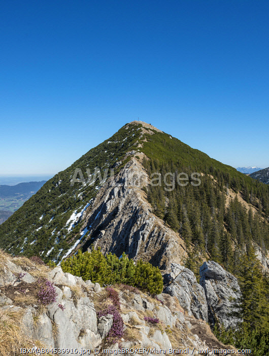 awl-images.com - Germany / Ridge and summit of the Brecherspitz with remaining snow in spring, Schliersee Alps, Upper Bavaria, Bavaria, Germany, Europe