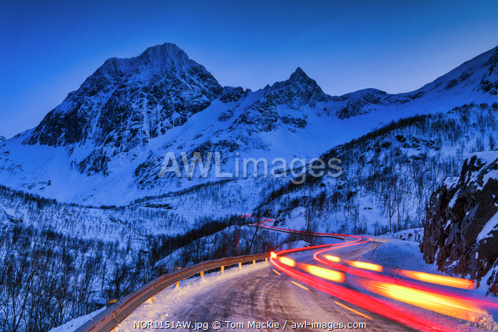 awl-images.com - Norway / Light Trails on Mountain Pass, Senja, Norway
