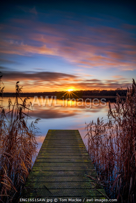 Jetty at Sunset, Norfolk Broads National Park, Norfolk, England