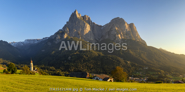 awl-images.com - Italy / Mt. Schlern & St. Valentin Church, Dolomites, South Tyrol, Italy