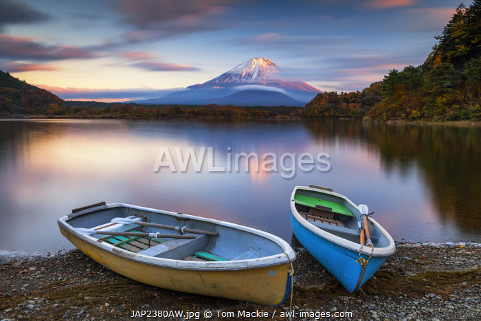 Mount Fuji and Lake Motosu at Sunset, Yamanashi Prefecture, Japan