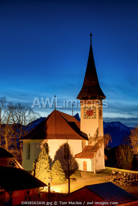 awl-images.com - Switzerland / Sigriswil Church at Night, Berner Oberland, Switzerland