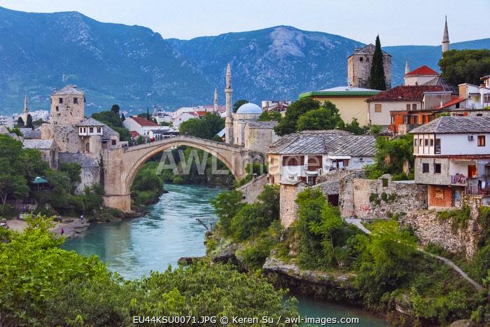 Stari Most (Old Bridge) over Neretva River, UNESCO World Heritage Site, Mostar, Bosnia and Herzegovina