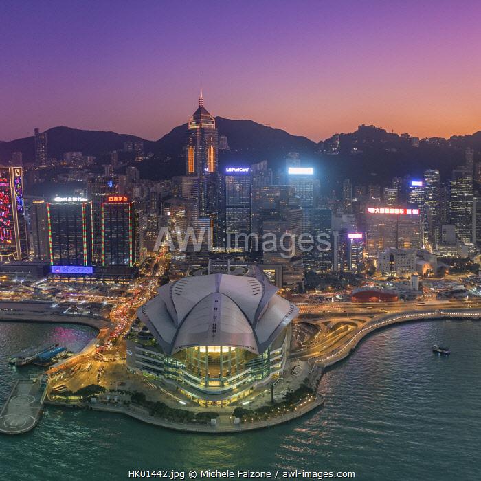 China, Hong Kong, Victoria Harbour and Hong Kong Island skyline