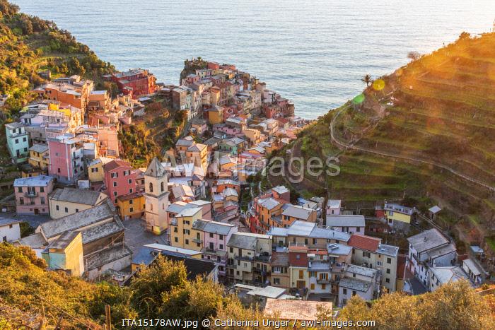 Europe, Italy, Liguria. View over the Cinque Terre village Manarola at sunset