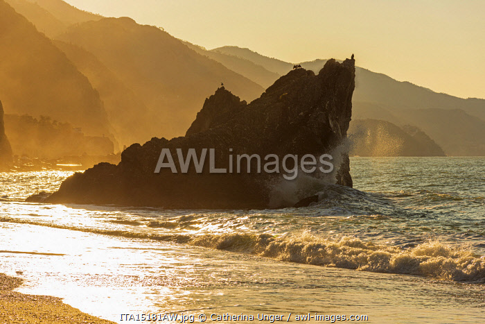 awl-images.com - Italy / Europe, Italy, Liguria. Monterosso beach in the morning sun.