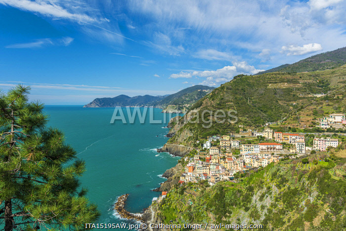 awl-images.com - Italy / Europe, Italy, Liguria. View over the Cinque Terre coast with the village of Riomaggiore