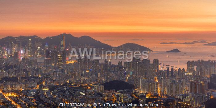 Kowloon and Hong Kong Island at sunset, Hong Kong