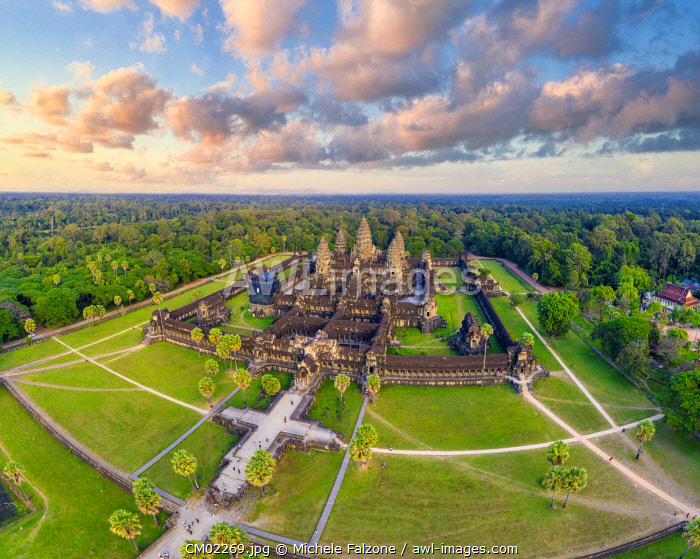 Cambodia, Siem Reap, aerial view of Angkor Wat Complex (Unesco Site)