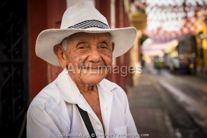 Portrait of Sandia the Watermelon Seller, Getsemani Barrio, Cartagena, Bolivar Department, Colombia, South America