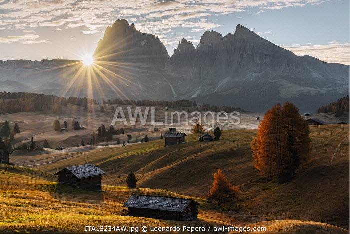 Autumn sunrise at the Alpe di Siusi (Seiser Alm) in the Dolomites, Italy