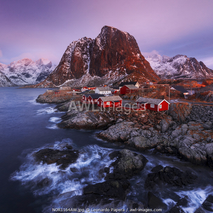 Fishermen's cabins (rorbuer) of Hamnoy along the coast in the Lofoten islands, Norway