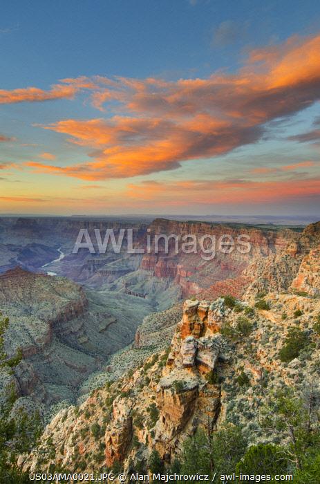 USA, Arizona. Sunset over Navajo Point, Grand Canyon National Park.