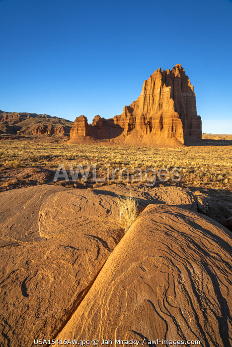 Temple of the Sun against clear sky on sunny day, Cathedral Valley, Capitol Reef National Park, Utah, Western United States, USA