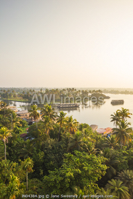 India, Kerala, Alappuzha (Alleppey), Traditional houseboats on backwaters