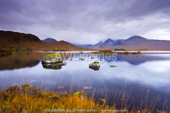 Stormy skies over Lochan Na H-Achlaise on Rannoch Moor in Autumn, Highlands, Scotland