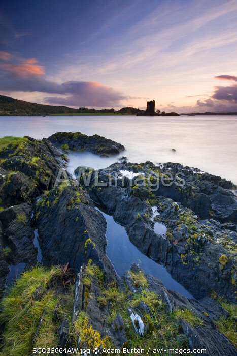 Castle Stalker, from the shores of Loch Linne near Port Appin, Scottish Highlands, Scotland