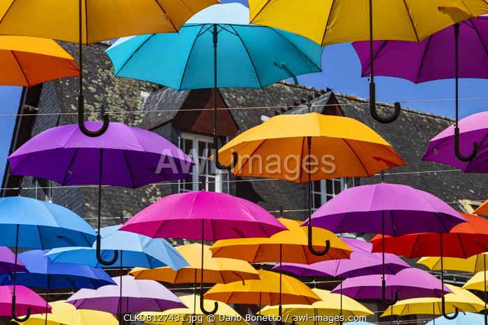 Brittany, Morbihan, Pontivy, France. Umbrellas adorn Pontivy village