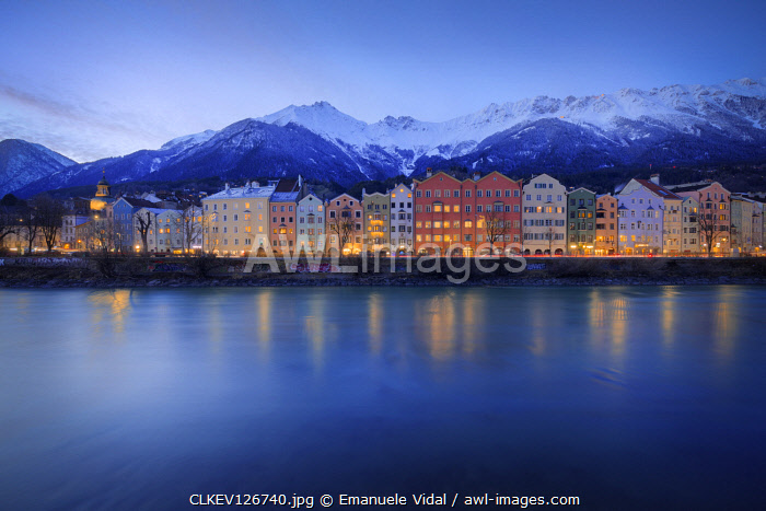The classic view at evening of the Mariahilf buildings with the Nordkette in the background, Innsbruck, Tyrol, Austria