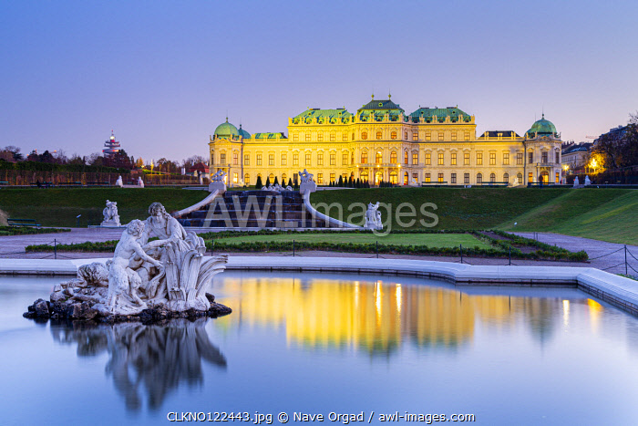 Vienna, Austria Upper Belvedere Palace and fountain