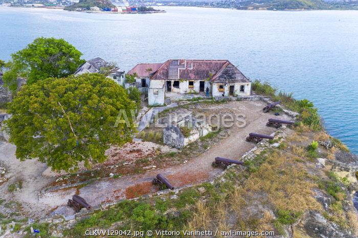Aerial view of ruins of buildings at Fort James, St. John's, Antigua and Barbuda, Leeward Islands, West Indies,