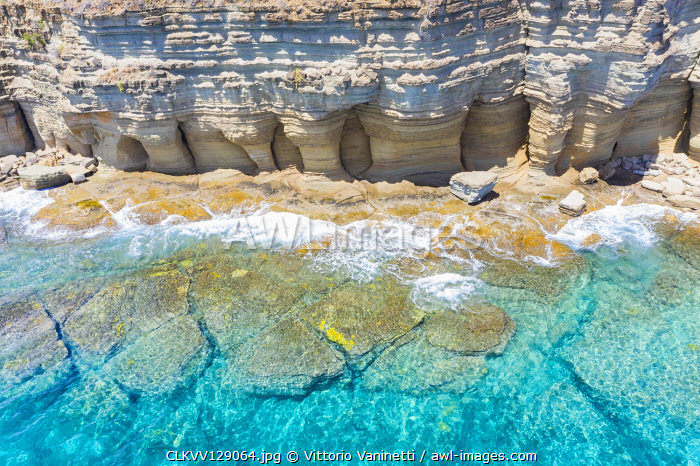 White limestone cliffs Pillar of Hercules washed by Caribbean Sea, aerial view by drone, Antigua