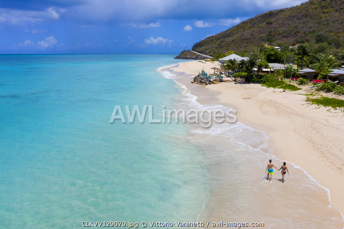 Idyllic tropical Turners beach with white sand, turquoise ocean water, Antigua island in Caribbean