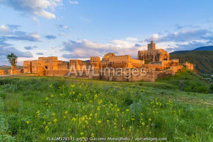 Landscape of the medioeval Rabati castle at sunset. Akhaltsikhe, samtskhe-javakheti region, Georgia.