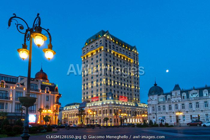 Europe square at twilight in the center of the city of Batumi. Adjara region, Georgia.