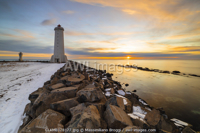 Akranes lighthouse at sunset, Vesturland, Iceland