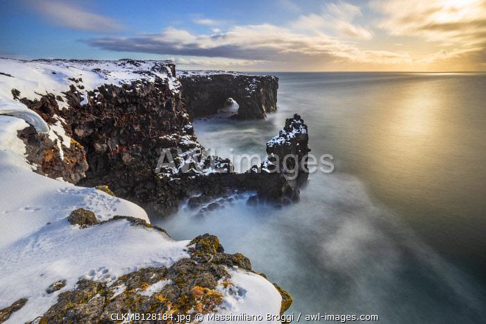 Sunset at Svortuloft cliffs, Hellisandur, Snaefellsnes peninsula, Iceland