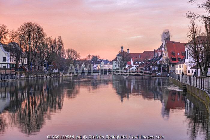 Landshut at sunrise Europe, Germany,Bavaria, Landshut