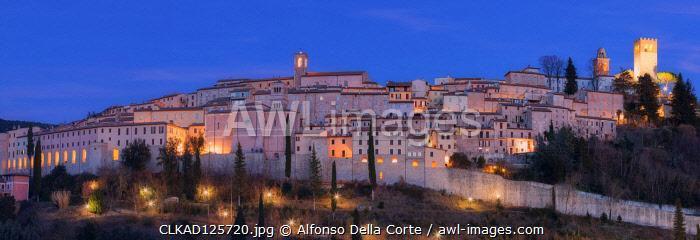 Europe, Italy, Umbria, Perugia district. Nocera Umbra at dusk