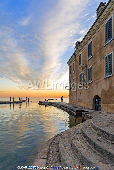 Punta San Vigilio, Verona province, Veneto, Italy A flight of steps going into the lake