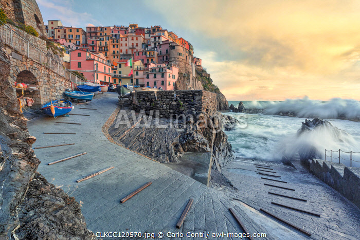 a strong storm hits the village of Manarola, Cinque Terre National Park, municipality of Riomaggiore, La Spezia province, Liguria district, Italy