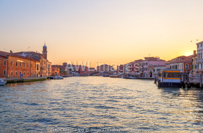 View of Canale Ponte Lungo at sunset, Murano Island, Venice, Veneto, Italy.