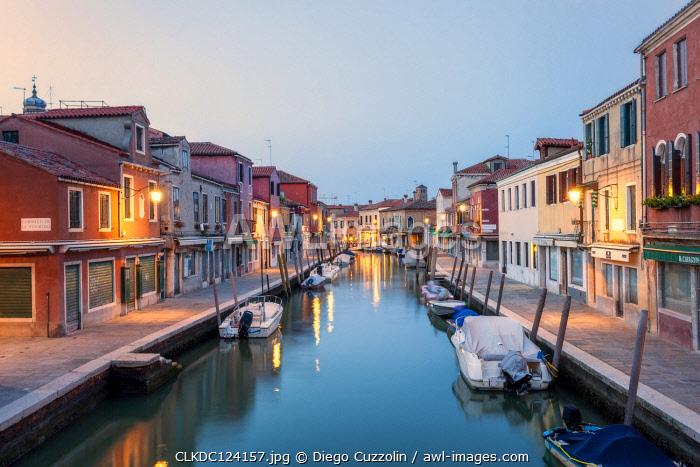 Dusk on Rio dei Vetrai, one of the canals of Murano Island, Venice, Veneto, Italy.