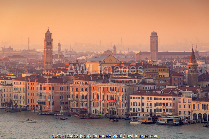 The Facades of Grand Canal with the churches of Venice in the background at dusk, Veneto, Italy