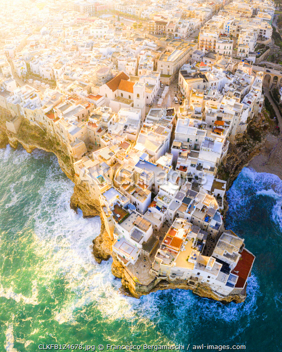Aerial view of the traditional roofs of Polignano a Mare, Apulia, Italy